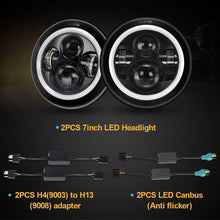 Load image into Gallery viewer, 7 Inch Cree LED Headlights with White Halo Ring Angel Eyes+Amber Turn Signal Halo