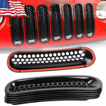 Load image into Gallery viewer, Black Front Grille Mesh Covers Sticker Decor For Jeep Wrangler JK 07-20