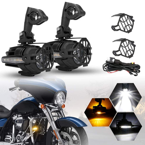 SUPAREE 40W LED Auxiliary Lamp Fog Driving Light Kits with Amber Turn Signals For Motorcycle BMW
