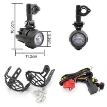 Load image into Gallery viewer, 2pcs Motorcycle LED Auxiliary Fog Lights With Protector Guard Covers + Wiring Harness