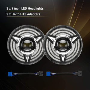 7 Inch LED Triple Halo Headlights with Amber Sequential Turn Signal for H6024 2007-2017 Jeep Wrangler JK JKU TJ LJ CJ Hummber H1 H2 (Pair)