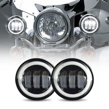 "Load image into Gallery viewer, 4-1/2"" 4.5 inch 30W Motorcycles LED Passing Fog Lights with DRL White Halo Ring"