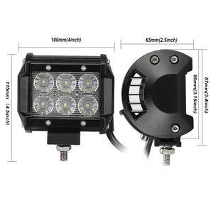 18W CREE LED Work Light Bar 4PCS