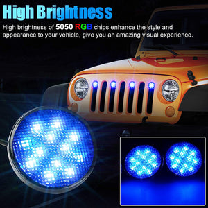 SUPAREE RGB Neon LED Front Grille Light fit for 2007-2017 Wrangler JK JKU 2018+ JL JKU