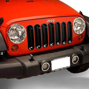 Black Front Grille Mesh Covers Sticker Decor For Jeep Wrangler JK 07-20