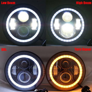 "7"" Motorcycle LED Headlight + 4.5"" Passing Fog Lights with DRL Halo and Bracket Mounting Ring Wire Adapter"
