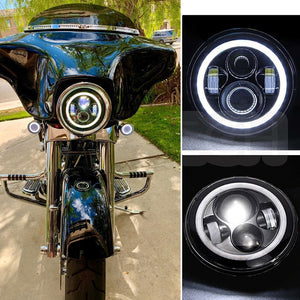 "7"" inch LED Headlights With DRL Amber Turn Signal Lights For Motorcycle"