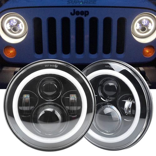 7 inch 80W LED Headlights With Angel Eyes Halo For Jeep Wrangler 1997-2018