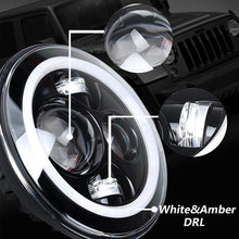 "Load image into Gallery viewer, 7"" Motorcycle LED Headlight + 4.5"" Passing Fog Lights with DRL Halo and Bracket Mounting Ring Wire Adapter"
