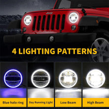 Load image into Gallery viewer, 7 Inch LED Headlights with Blue Halo DRL + Round Mount Brackets for 2018-2020 Jeep Wrangler JL & 2020 Gradiator JT
