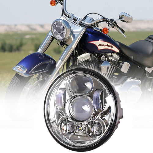 Black Chrome 5.75 inch Motorcycle LED Headlights 5-3/4