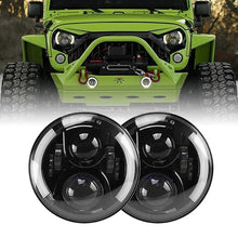 Load image into Gallery viewer, 7inch 80W LED Projector Headlights With White Halos For 97-18 Jeep Wrangler & Gladiator JT