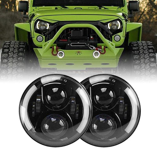 7inch 80W LED Projector Headlights With White Halos For 97-18 Jeep Wrangler & Gladiator JT