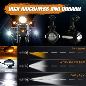Motorcycle LED Auxiliary Lights With Amber Turn Signals Protect Guards Wiring Harness For BMW Motorcycle