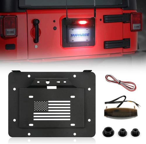 Spare Tire Delete License Plate Relocation Kit w/Plate Illuminate Light for 2007-2018 Jeep Wrangler JK & Unlimited