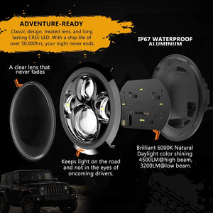 Jeep headlights replacement 7 inch 60W LED Headlights For 97-18 Jeep Wrangler JK/TJ/LJ/JL & Gladiator JT