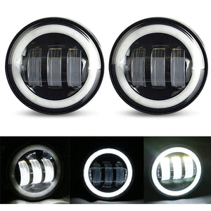 "4-1/2"" 4.5 inch 30W Motorcycles LED Passing Fog Lights with DRL White Halo Ring"