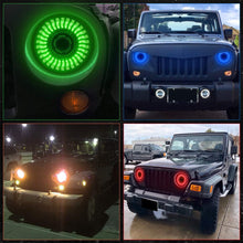 Load image into Gallery viewer, 7inch 3D RGB Halo LED Headlights with Amber Turn Signal For 97-18 Jeep Wrangler JK/TJ/LJ