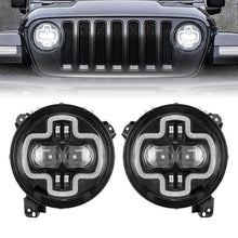 "Load image into Gallery viewer, NEW 9"" Round LED Headlights With Halo DRL Angel Eyes For 2018-2019 Jeep Wrangler JL"