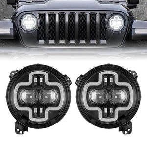"NEW 9"" Round LED Headlights With Halo DRL Angel Eyes For 2018-2019 Jeep Wrangler JL"