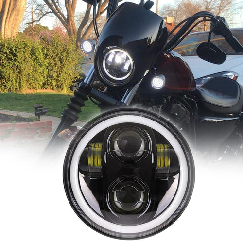 5.75 Inch LED Round Headlight with Halo DRL Hi/Lo Beam For Motorcycles Sportsters Touring Super Glide Dyna