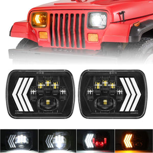 7x6 LED Headlights 5x7 inch Headlamp with DRL Sequential Turn Signal for Jeep Cherokee XJ Wrangler YJ GMC Truck
