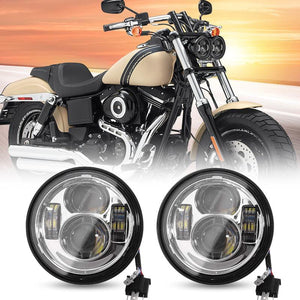 "4.65"" inch Dual LED Headlights with DRL For Motorcycle Dyna Fat Bob"
