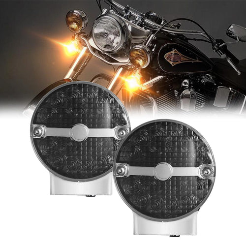 Smoke or Yellow Lens LED Turn Signal Lights Amber For Motorcycles Touring Softail Classic Models