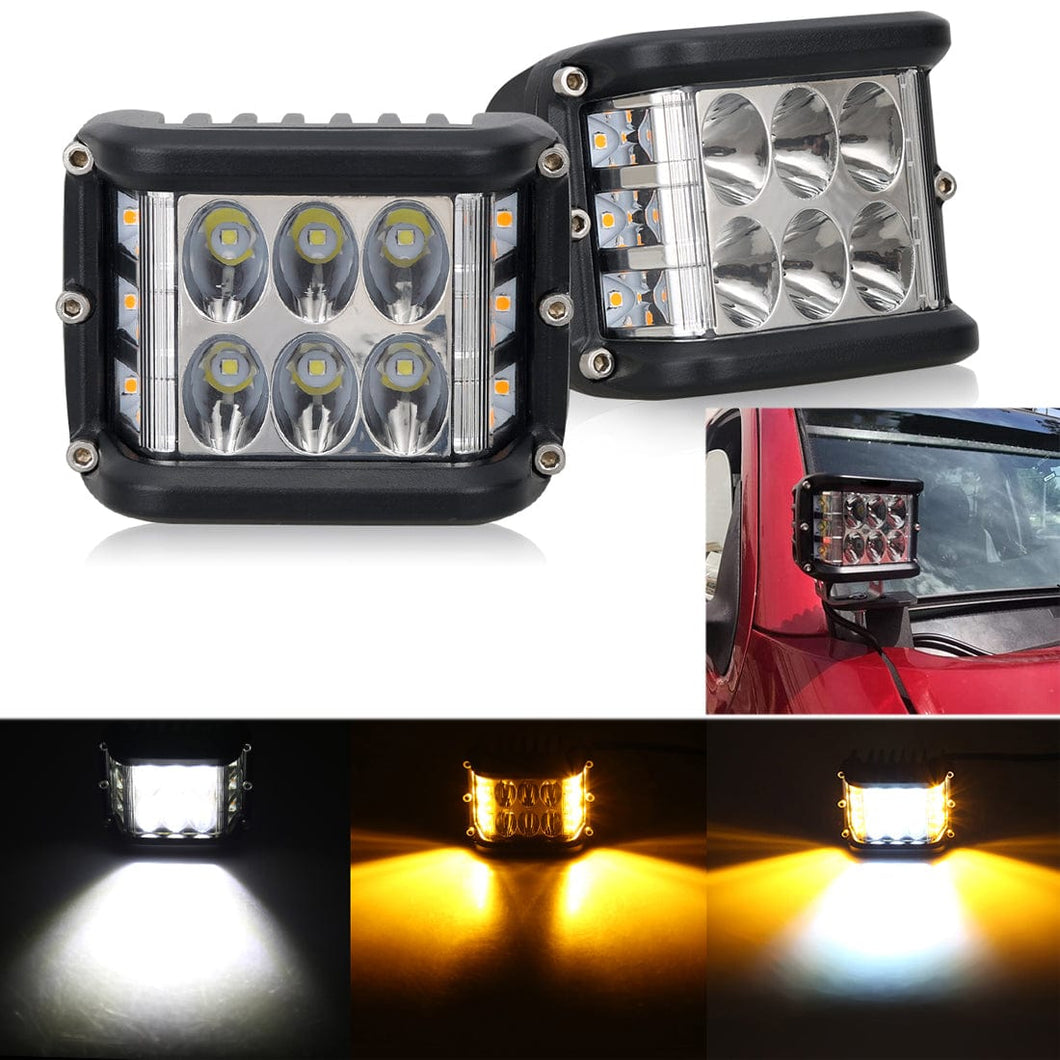 4 inch Off-road Work Driving Lights Side Shooter LED Pods Light with Amber Flash Strobe For Jeep ATV SUV Truck