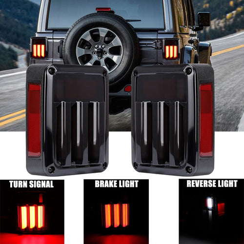 Smoked LED Tail Lights Turn Signal Lights For Jeep Wrangler 2007-2018