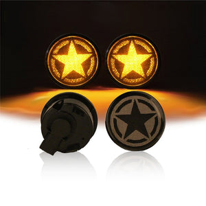 Amber LED Turn Signal & Side Marker Fender Flares Parking Lights with Five-star Smoke Lens For Jeep Wrangler