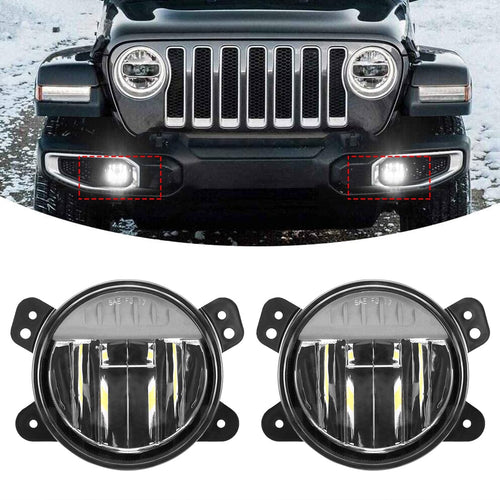 Upgraded 4 Inch LED Fog Light Passing Lamp Assembly Kit for Jeep Wrangler JL 2018 2019