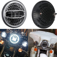 "Load image into Gallery viewer, 7"" inch Motorcycle Headlamp Kit LED Round Headlight With DRL Blue Halo"