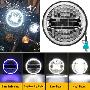 "7"" inch Motorcycle Headlamp Kit LED Round Headlight With DRL Blue Halo"