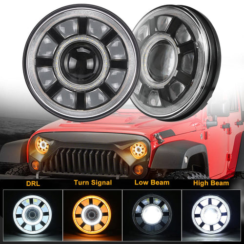 7 Inch Jeep Wrangler LED Headlights with Dual Halo DRL Turn Signal For JK/TJ/CJ/LJ