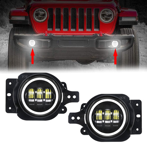 4 inch LED Fog Lights With White Halo DRL Angel Eyes for 2018 2019 Jeep Wrangler JL
