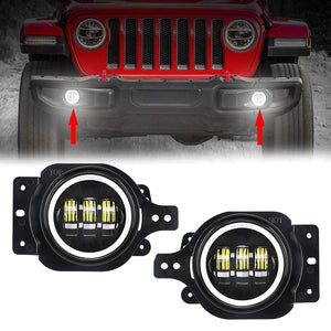 4 inch LED Fog Lights With White Halo DRL Angel Eyes for 2018 2020 Jeep Wrangler JL
