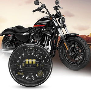 "Black 5-3/4"" 5.75inch LED Headlights Round Hi/Lo Beam Headlamp with DRL For Motorcycle Softail Sportster"