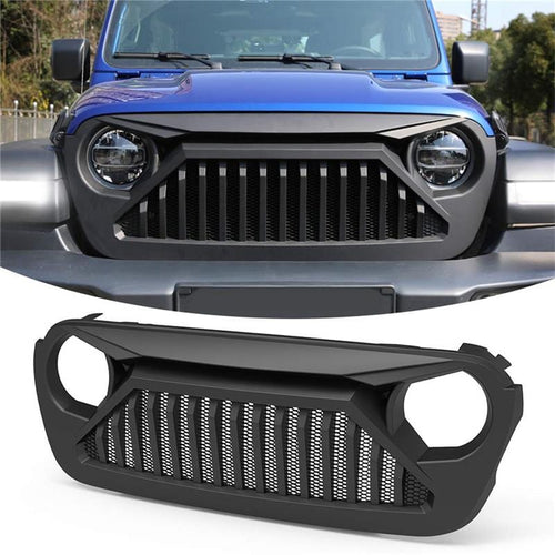 Black Bumper Mesh Grille For 2018-2020 Jeep Wrangler JL & Jeep Gladiator JT