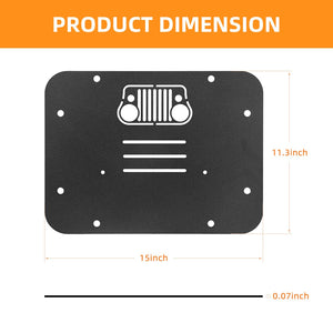 Tailgate Vent Plate Cover Spare Tire Delete Filler Plate with Rubber Plugs For 07-17 Jeep Wrangler JK JKU