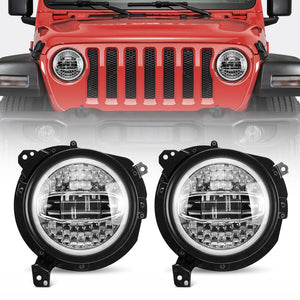 7 Inch LED Headlights with Blue Halo DRL + Round Mount Brackets for 2018-2020 Jeep Wrangler JL & 2020 Gradiator JT
