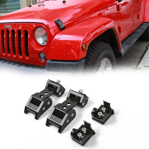Black Aluminum Hood Latches Locking Hood Catch Kit For 2007-2018 Jeep Wrangler JK JKU