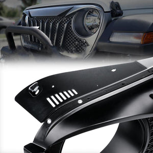 Diamondback Series Black Mesh Grille For 2018-2020 Jeep Wrangler JL & Jeep Gladiator JT