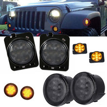 Load image into Gallery viewer, Smoke LED Amber Front Turn Signal & Side Marker Fender Flares Lights For Jeep Wrangler