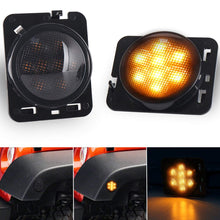 Load image into Gallery viewer, LED Amber Side Marker Fender Flares Lights with Smoke/Clear Lens for 07-18 Jeep Wrangler