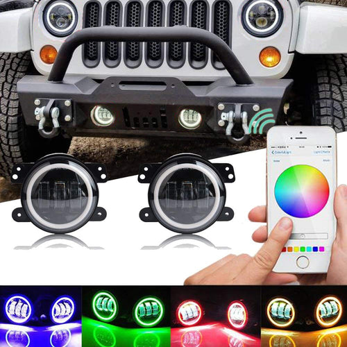 4inch LED Fog Lights With RGB Halo Rings For 07-18 Jeep Wrangler JK/JL/JT