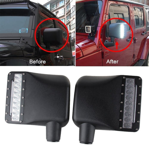 LED Side Mirror Lights With White Spot Lights Amber Turn Signal Lights For Jeep Wrangler JK 2007 -2018