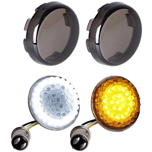 Front Amber LED Turn Signals Lights White Running Lamps with Smoke Lens For Motorcycle Road King Street Bob