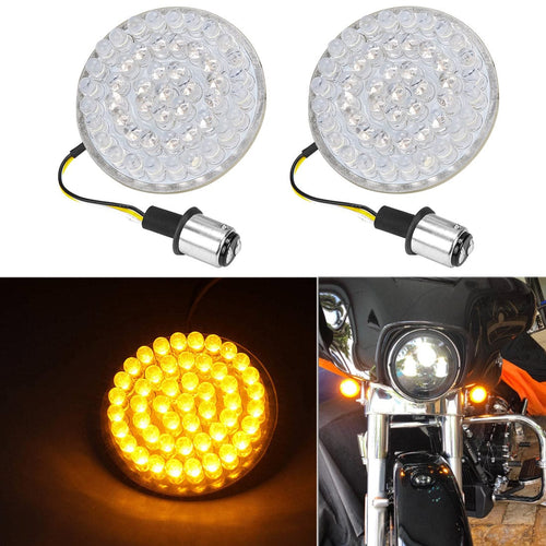 Front 1157 LED Turn Signals Lamps White Amber Running Lights For Motorcycle Dyna Touring