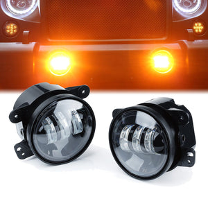 4inch 30W CREE LED Amber Fog Lights Yellow Driving Lamps For Jeep Wrangler JK 07-18
